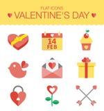 Netter Satz Ikonen für Valentinsgrußtag, heiratend Lizenzfreie Stockbilder
