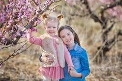 Netter schöner stilvoller gekleideter Brunette und blonde Mädchenschwestern, die auf einem Feld des jungen Pfirsichbaums des Früh Stockbild