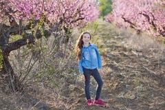Netter schöner stilvoller gekleideter Brunette und blonde Mädchenschwestern, die auf einem Feld des jungen Pfirsichbaums des Früh Lizenzfreies Stockfoto