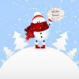 Netter Schneemann hält Fahne frohe Weihnachten Weihnachtsmann auf einem Schlitten Stockbilder