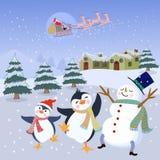 Netter Schneemann und Pinguin im Winter stock abbildung