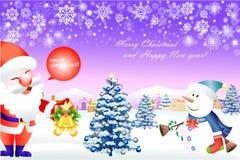 Netter Schneemann und Weihnachtsmann, die ein Weihnachten genießt - vector eps10 Lizenzfreies Stockfoto
