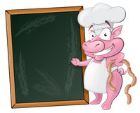Netter Schwein-Chef Character mit Kreide-Brett Stockfoto