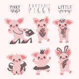 Netter Schweinsatz Piggy Mädchen lustig, entzückende Sammlung Grafischer Drucksatz, Aufkleber, emoji Lizenzfreies Stockfoto