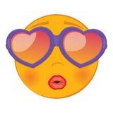 Netter sehr glücklicher und reizender Emoticon In sunglass in Form eines Herzens Lizenzfreie Stockfotos