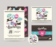 Netter seltener schwarzer Cat Theme Happy Birthday Invitations-Karten-Satz und Flieger-Illustrations-Schablone Lizenzfreies Stockbild