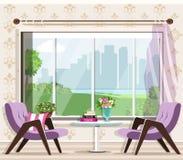 Netter stilvoller Wohnzimmerinnenraum eingestellt: Lehnsessel, Tabelle, Fenster Grafische Möbel Innenarchitektur des Luxusraumes stock abbildung