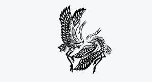 Netter Storchkran mit zwei Vögeln Stockfotos