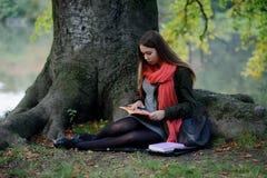 Netter Student in einem hellen roten Schal sitzt im Park und lehnt sich am Stamm eines großen Baums Lizenzfreies Stockbild