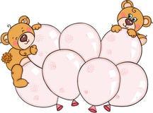 Netter Teddybär betrifft herauf die rosa eingestellten Ballone stock abbildung