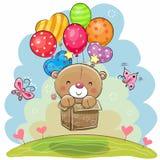 Netter Teddybär mit Ballonen lizenzfreie abbildung