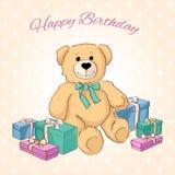 Netter Teddybär mit Geschenken Stockbild