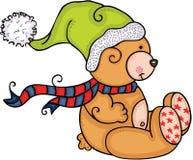Netter Teddybär mit grünem Hut stock abbildung