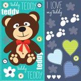 Netter Teddybär mit roter Bogenillustration Stockfotos
