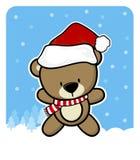 Netter Teddybär mit Weihnachtsmann-Rothut Stockfotos