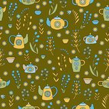 Netter Teesatz Nahtloses Muster des bunten Vektors Lizenzfreies Stockfoto