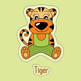 Netter Tiger, Karikaturaufkleber, lustiges Tier, Kind-` s Zeichnung, Karte stock abbildung