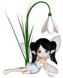 Netter Toon Dark Haired Snowdrop Fairy, sitzend Lizenzfreie Stockfotos