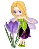 Netter Toon Purple Crocus Fairy, stehend Lizenzfreies Stockfoto