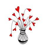 Netter Vase mit Herzblumen Lizenzfreie Abbildung