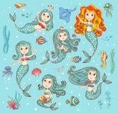 Netter Vektor eingestellt mit Meerjungfrauen Lizenzfreie Stockbilder