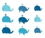 Netter Vektor stellte mit blauen Karikaturwalen für Einladungen, greeti ein Stockfotografie