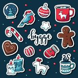 Netter Vektorsatz hygge Aufkleber Nette Illustrationswinter und -weihnachtenhygge Elemente Skandinavische Art mit hygge stock abbildung