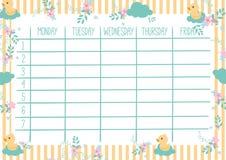 Netter Kalender-täglicher Und Wöchentlicher Planer Vektor Abbildung ...