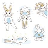 Netter weißer Kaninchenprinz mit goldener Krone, blauer Bauch lizenzfreie abbildung