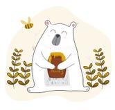 Netter weißer Bär, der Honig mit einer kleinen Biene isst lizenzfreie abbildung