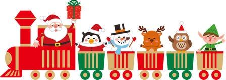 Netter Weihnachtscharakter auf einem Spielzeugzug lizenzfreie abbildung