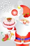 Netter Weihnachtsmann, der köstlichen Kuchen auf Schneeflockenhintergrund hält - vector eps10 Stockfotos