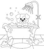 Netter Welpe, der Bad nimmt Verfolgen Sie das Pflegen Schwarzweiss-Vektorillustration für Malbuch Stockfoto