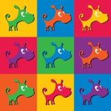 Netter Welpe, ein Satz farbige Schattenbilder auf verschiedenen Hintergründen Lizenzfreies Stockfoto