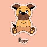 Netter Welpe, Hund, Karikaturaufkleber, lustiges Tier, Kind-` s Zeichnung, lizenzfreie abbildung