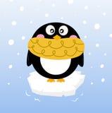 Netter Winter-Pinguin auf funkelndem Eisberg vektor abbildung