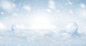 Netter Winterschneehintergrund mit copyspace lizenzfreies stockbild
