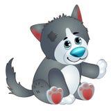 Netter Wolf - das angefüllte Spielzeug der alte Kinder mit Flecken Vektor in der Karikaturart lokalisiert auf Weiß Lizenzfreies Stockfoto