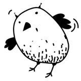 Nettes überraschtes des farblosen lustiges Karikaturbild Konturnentwurfs des Uhus Junger Mann läuft in Stadt Malbuchseite Stockfotografie