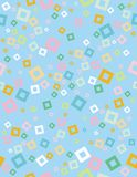 Nettes abstraktes geometrisches Vektor-Muster Hellblauer Hintergrund Weiß, grün, gelb und Blau quadriert Konfettis Nahtloser Entw stock abbildung