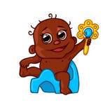 Nettes afro-amerikanisches Kind auf einem Topf mit einem Geklapper Stockbilder