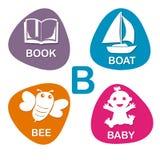 Nettes Alphabet im Vektor B-Buchstabe für Buch, Boot, Biene und Baby Lizenzfreies Stockbild