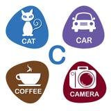 Nettes Alphabet im Vektor C-Buchstabe für Katze, Auto, Kaffee und Kamera Stockfoto