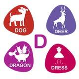 Nettes Alphabet im Vektor D-Buchstabe für Hund, Rotwild, Drachen und Kleid Lizenzfreies Stockbild