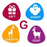 Nettes Alphabet im Vektor G-Buchstabe für Geschenk, Geist, Giraffe und Ziege Stockfotografie