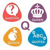 Nettes Alphabet im Vektor Q-Buchstabe für Frage, Königin, Quitte und Zitate Lizenzfreies Stockfoto