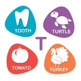 Nettes Alphabet im Vektor T-Buchstabe für Zahn, Schildkröte, Tomate und die Türkei Stockfotos