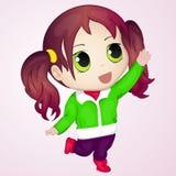 Nettes Anime chibi kleines Mädchen, das versucht, etwas zu nehmen Einfache Karikaturart Auch im corel abgehobenen Betrag NY-Samml Lizenzfreies Stockfoto
