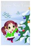 Nettes Anime chibi kleines Mädchen, das versucht, Süßigkeit zu nehmen Karte der frohen Weihnachten und des guten Rutsch ins Neue  Stockfoto