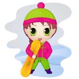 Nettes Anime chibi kleines Mädchen mit Snowboard Einfache Karikaturart Auch im corel abgehobenen Betrag NY-Sammlung Lizenzfreie Stockfotos
